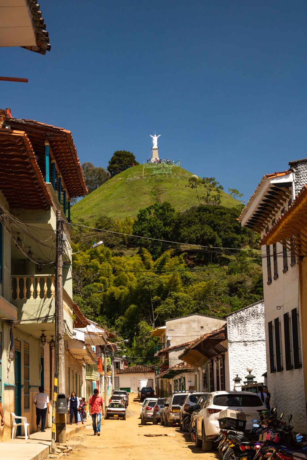 The view of Cristo Redentor from the street in Jerico, Colombia.