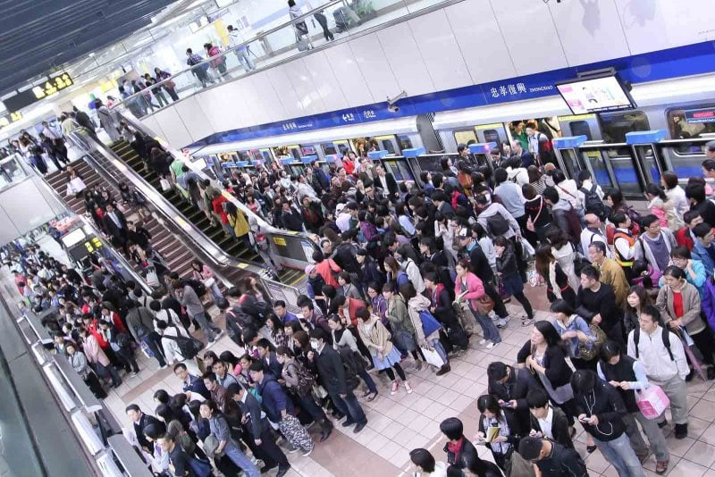 A part of being an English teacher in Taiwan involves taking crowded metros to work.