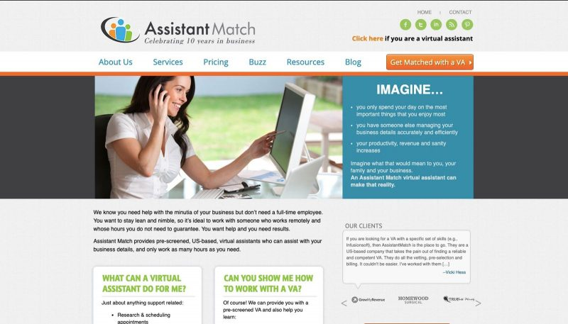 Assistant Match is another work from home website.