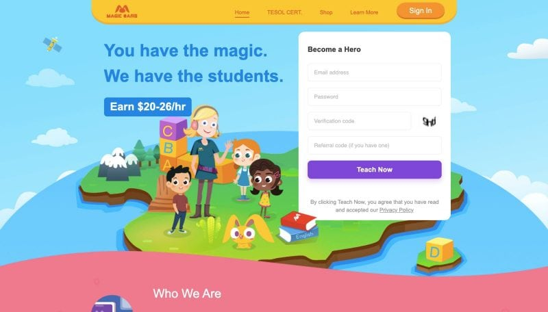 Magic Ears is a great resource for how to teach English online.