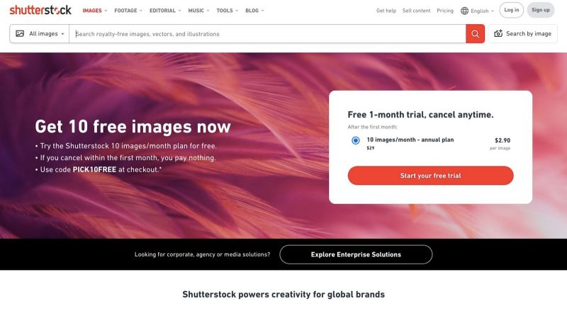 Shutterstock is a work from home website for people who want to sell their photographs.