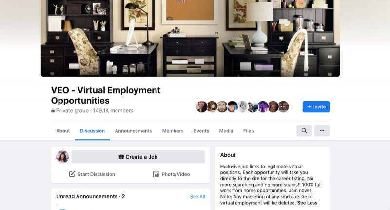 Facebook groups are a great resource for finding jobs in addition to work from home websites.
