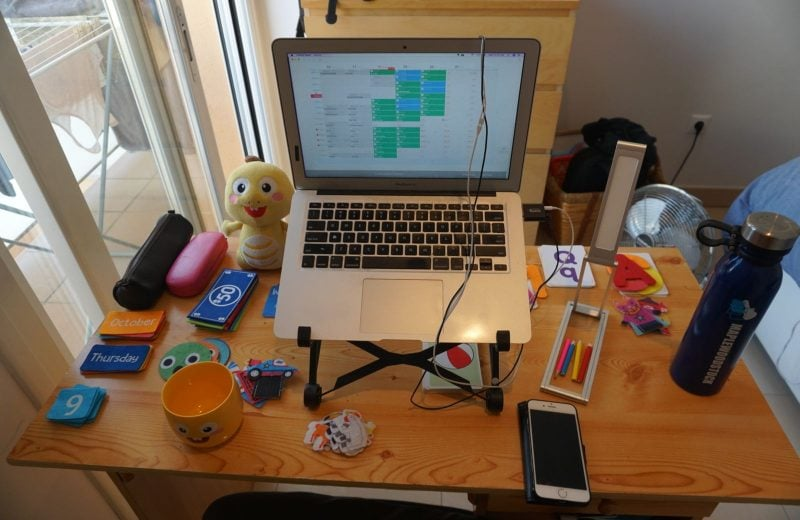 This is what my desk looks like as a VIPKid teacher.