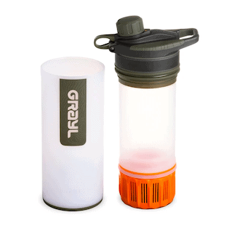GRAYL travel water filter showing main bottle and filter insert