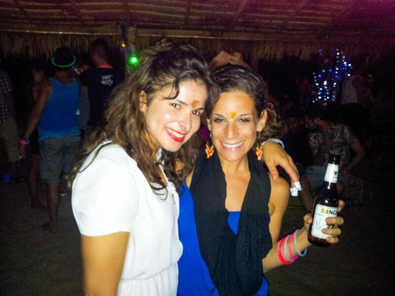 Two women smiling at camera at New Years Eve party in Koh Lanta
