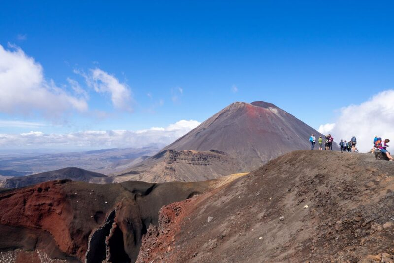 Red Crater volcano in volcanic landscape on the Tongariro Alpine Crossing Hike