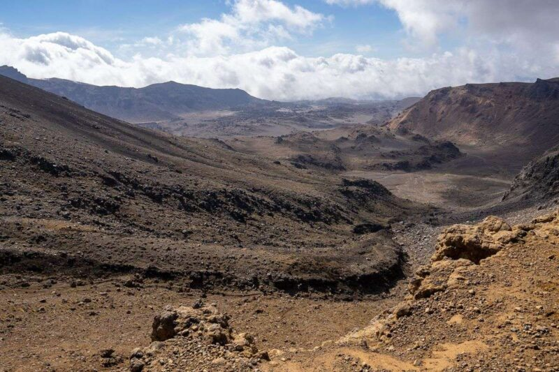 Volcanic landscape on the Tongariro Alpine Crossing Hike in New Zealand