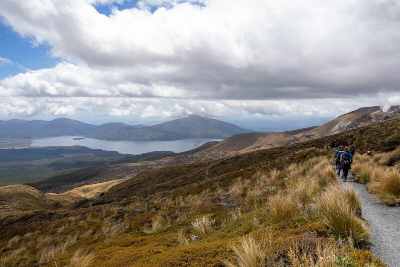 View of grasslands with person on hiking trail and Blue Lake in distance on Tongariro Hike