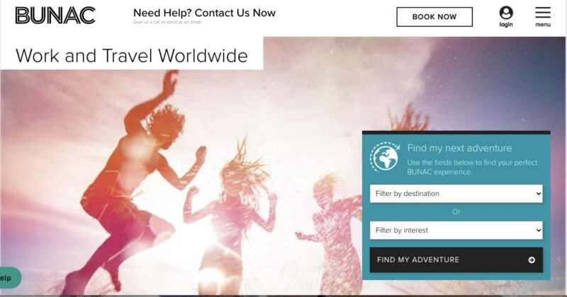 BUNAC website home page - a great way to getting a job abroad