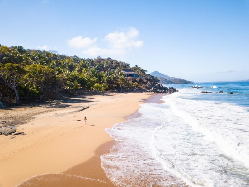 Aerial view of Carracitos Beach and ocean, one of the best Sayulita Beaches