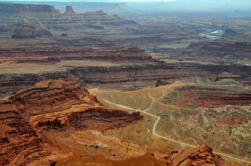 View over mesas and river bed in Dead Horse State Park - visit for one of the best things to in Moab