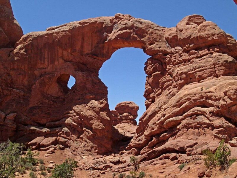 Orange rock rock arch in Arches National Park