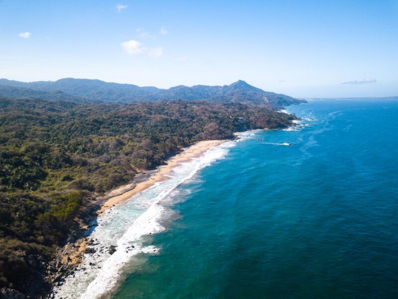 Aerial view of beach and coastline at Patzcuarito, one of the beaches in Sayulita