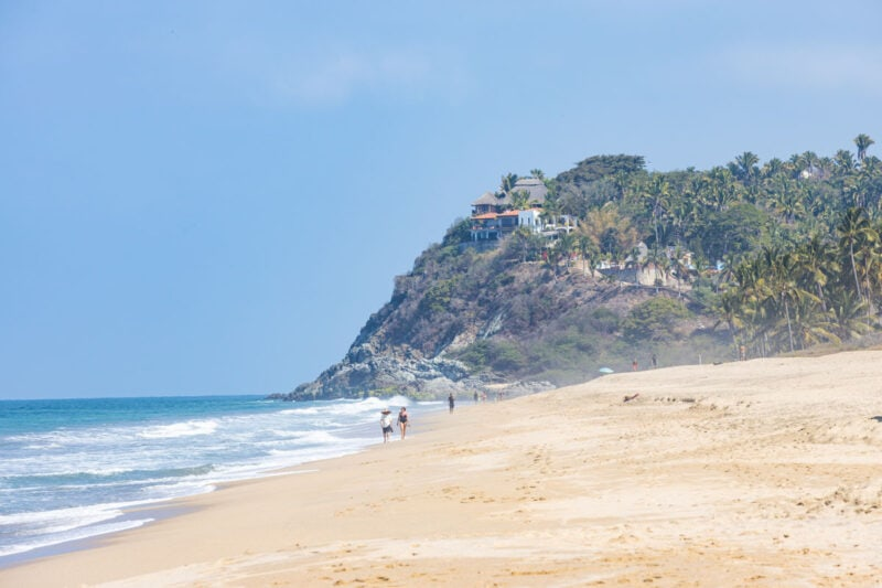 San Pancho beach with ocean and headland, one of the best Sayulita beaches