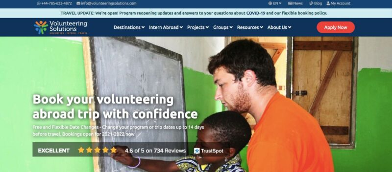 Volunteering Solutions website home page - use them if you are wondering how to get a job abroad