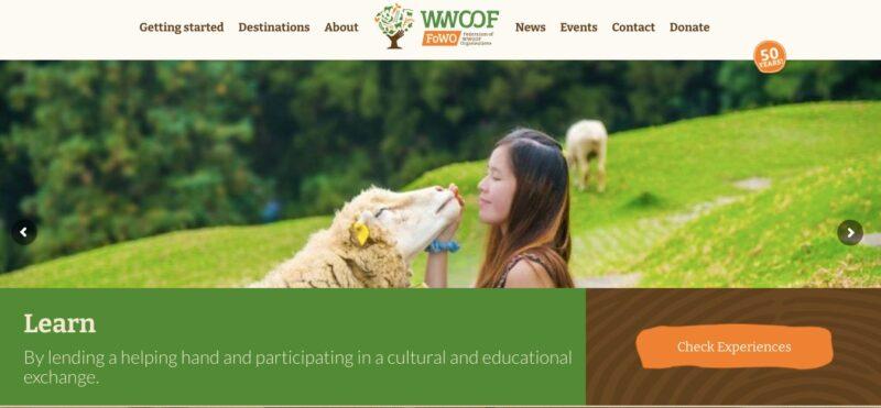 WWOOF website homepage - volunteer abroad through them