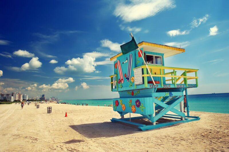 Miami Beach with lifeguard tower and ocean - a must-visit during your 2 days in Miami