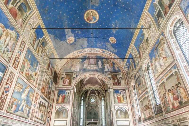 Frescos on walls and ceiling of Scrovegni Chapel in Padua - one of the must-visit day trips from Venice