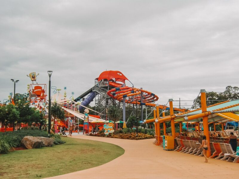 Water slides and tower at White Water World theme park - one of the best things to do on the Gold Coast