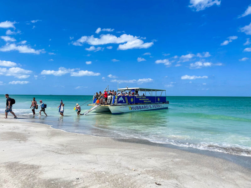 Passengers getting off the Egmont Key ferry