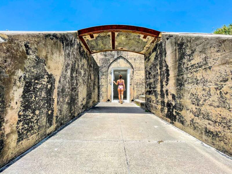 Walkway with arch at the fort in Egmont Key State Park