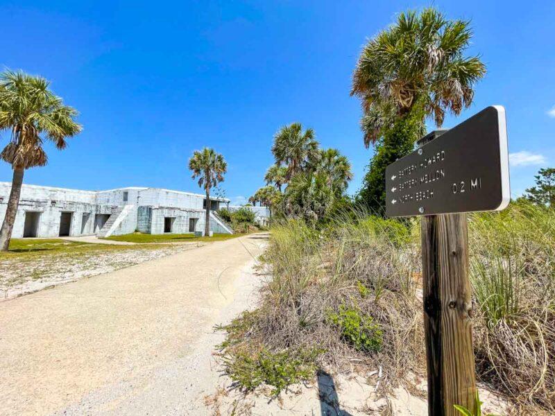 Trailer marker for the fort in Egmont Key State Park