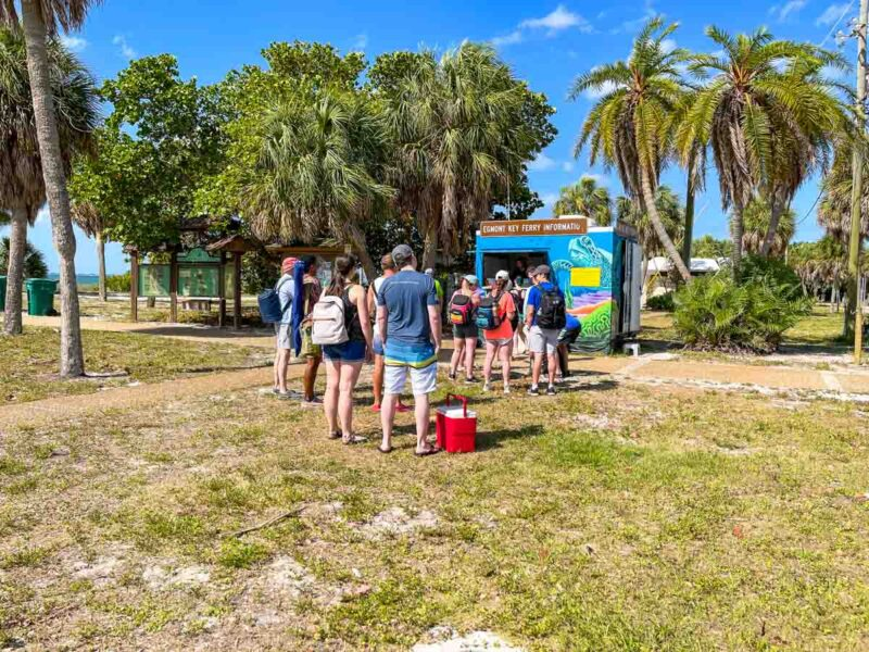 People queuing for tickets for the Egmont Key Ferry