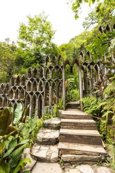 Unusual sculpture surrounded by foliage in Las Pozas Xilitla Jardin, Huasteca Potosina