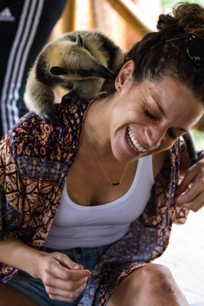 Ant Eater on laughing Nina's shoulder at Selva Teenek in Huasteca Potosina