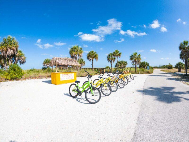 Bike rental stand in Fort De Soto Park, Florida