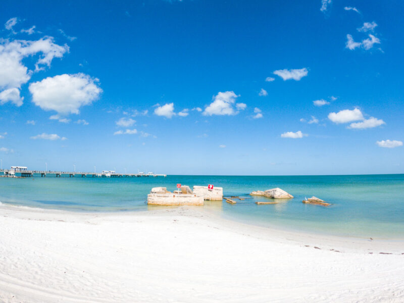 Beach with ruins in Fort De Soto Park, Florida