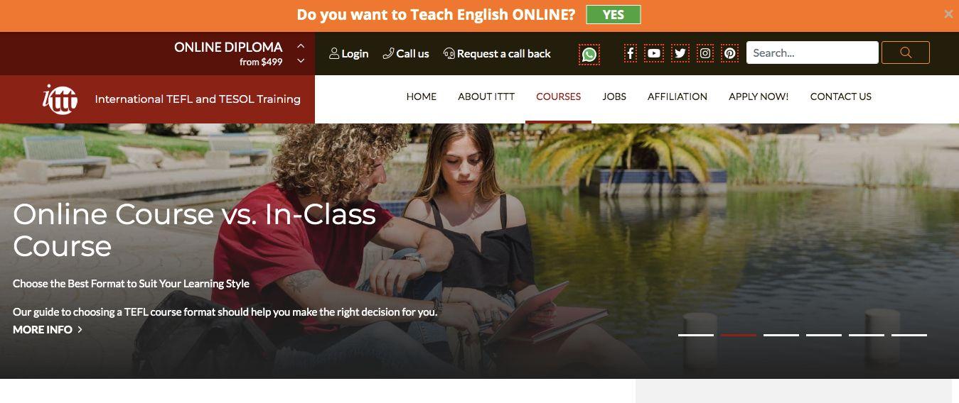 Screenshot of ITTT TEFL courses online
