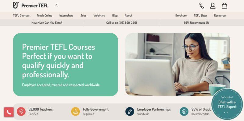 Screenshot of Premier TEFL - one of the best TEFL courses online