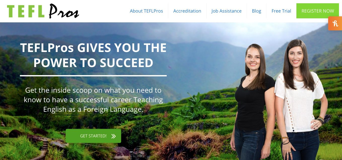 Screenshot of TEFLPros website - one of the best TEFL courses