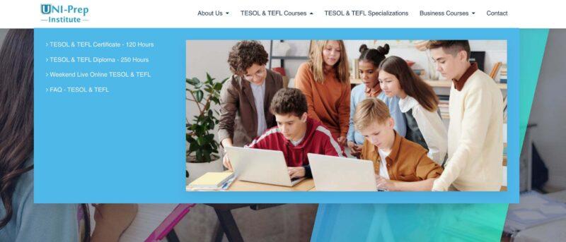 Screenshot of Uni Prep Institute website for tefl courses