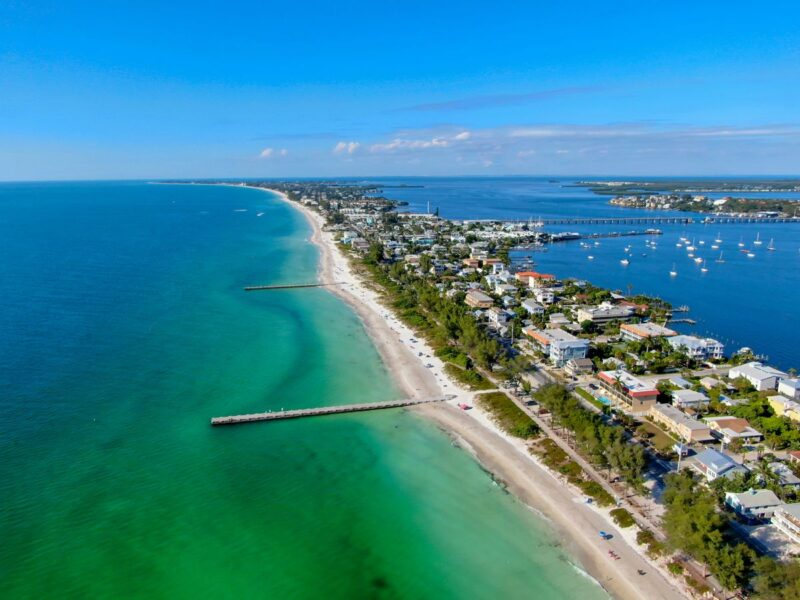 Overhead view of houses on Anna Maria Island