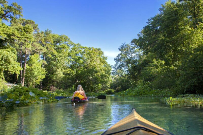 People kayaking in Rock Springs Run State Reserve