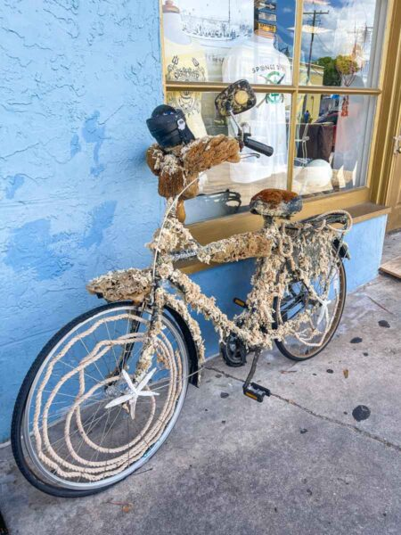 Bicycle covered in sponges and rope in Tarpon Springs