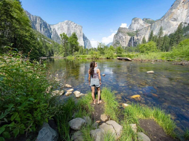 Women by the river in Yosemite Valley
