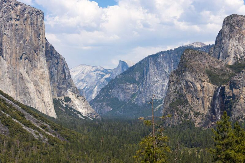 Tunnel View lookout on the Yosemite road trip itinerary